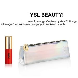 YSL tatouage couture 01 red lipstick makeup pouch